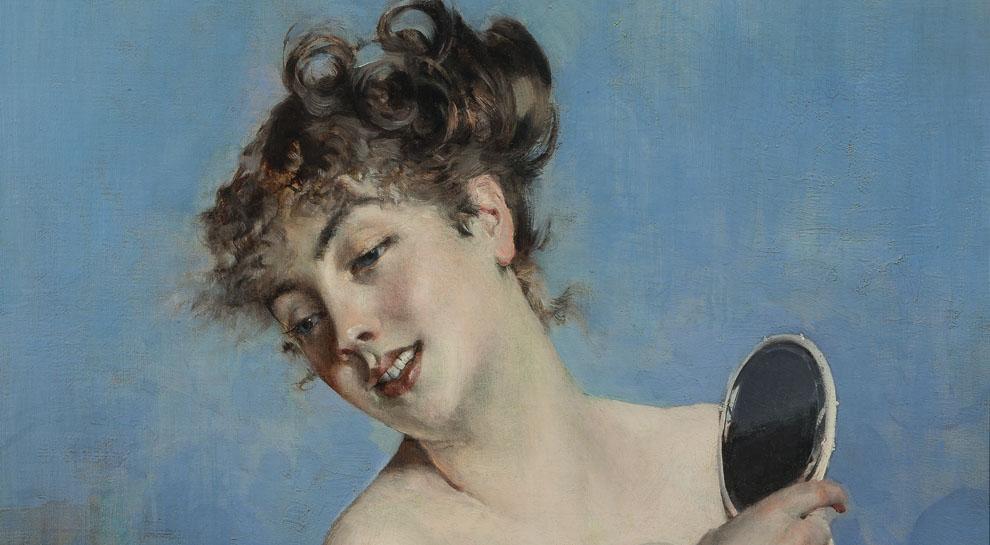 Mart-Rovereto-Giovanni-Boldini-Giovane-donna-in-déshabillé-(La toilette)-dettaglio-1880-ca-Collezione privata